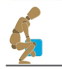 A crash dummy positioned to demonstrate how to lift a box safely