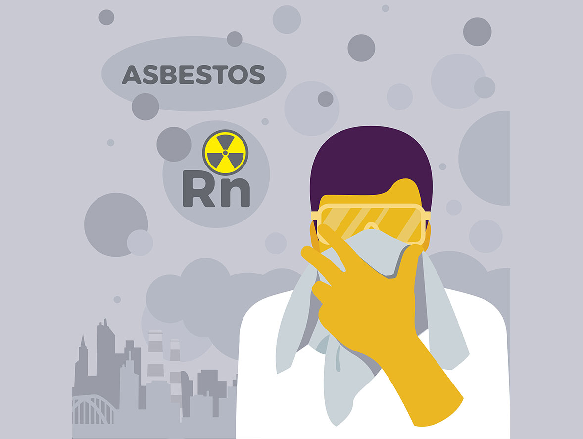 A worker covering their mouth with a rag due to the presence of asbestos (shown by the chemical symbol Rn)