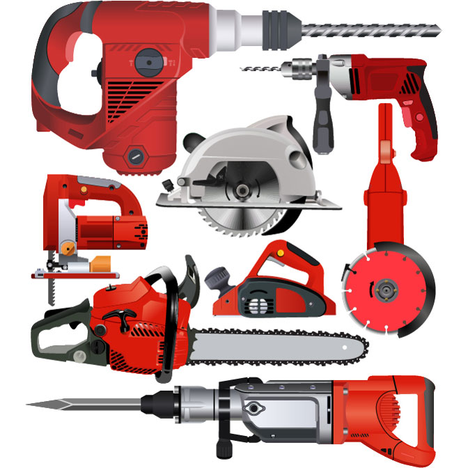 Power tools including a buzzsaw and chainsaw