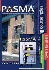 A low level work platform and a mobile access tower in the background, with a PASMA certification logo