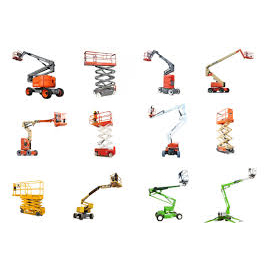 A dozen scissor lifts and other powered access lifts used in construction work