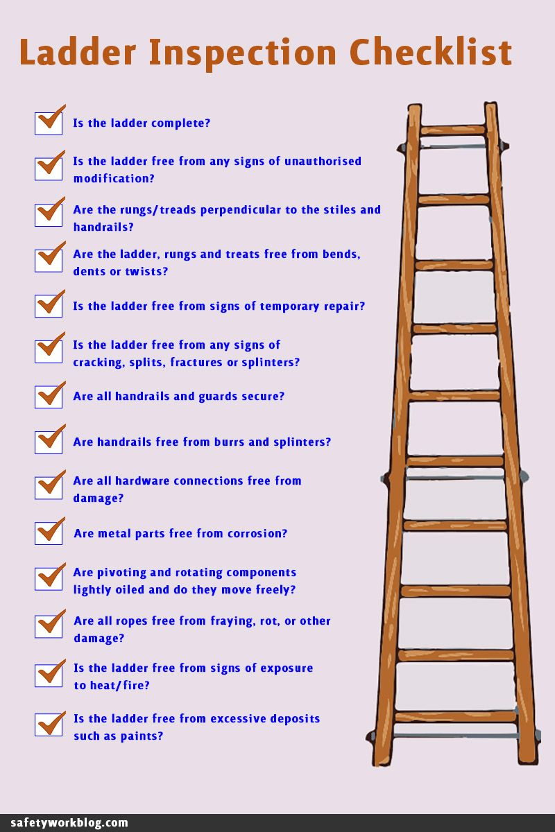 A checklist for a safe ladder inspection routine, with a wooden ladder on one side