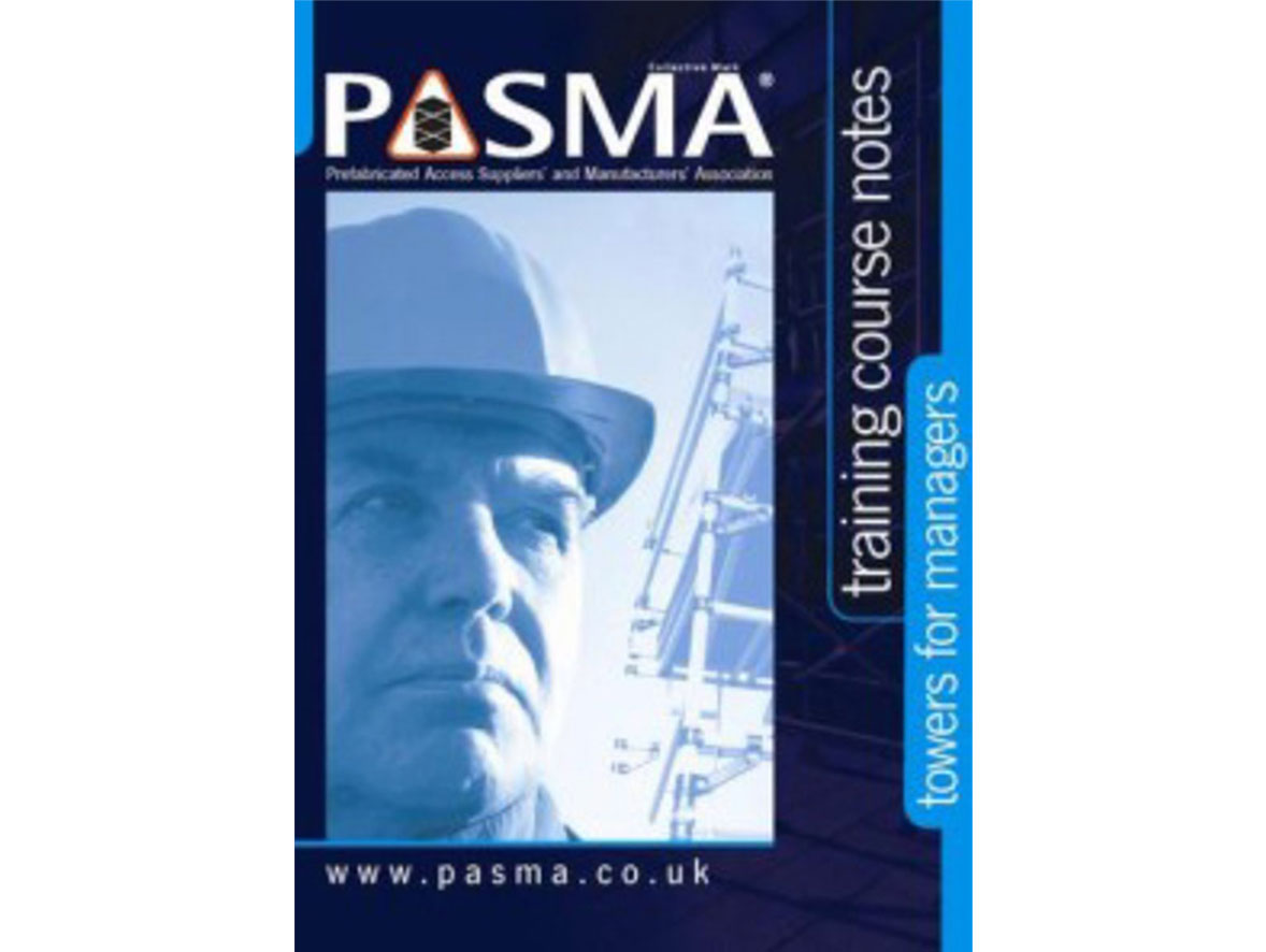 A manager looking at a construction access tower, with a PASMA certification logo
