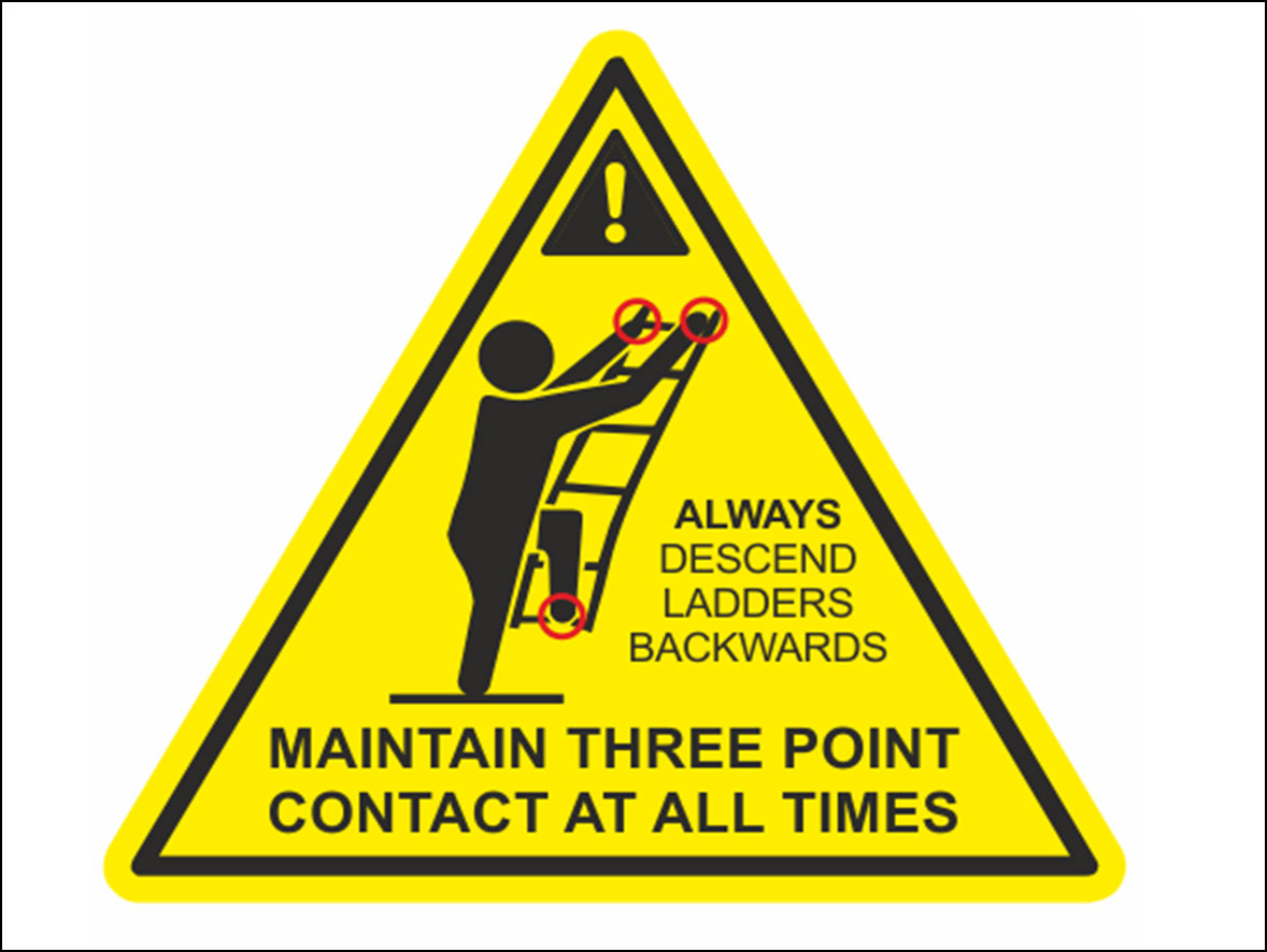 A yellow triangular warning sign showing how to safely climb a ladder
