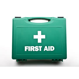 First Aid kit in front of a plain background