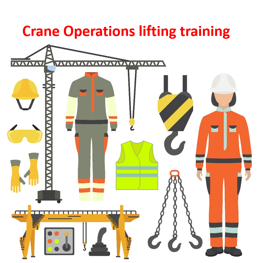 A collection of safety equipment used in crane operations, as well as a construction worker and a crane