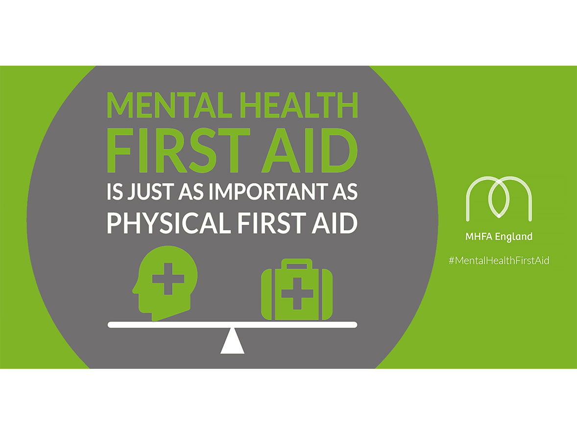 An MHFA poster reading Mental Health First Aid is just as important as physical first aid