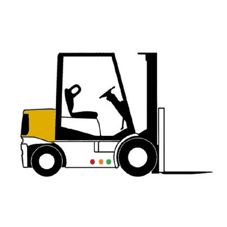 An unoccupied forklift truck viewed from the side