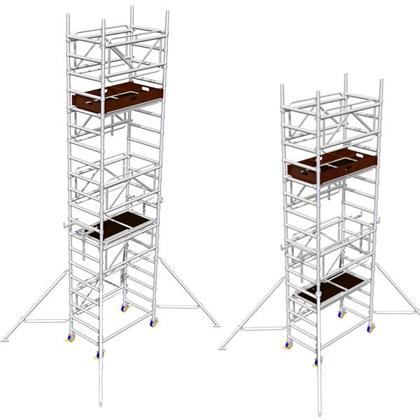 Two steel access towers used in construction work, assembled safely