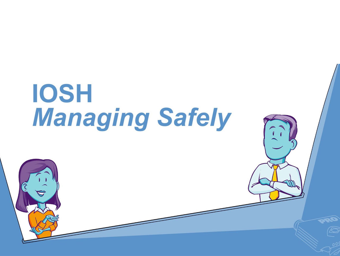 Two managers smiling with the phrase IOSH Managing Safely written above them
