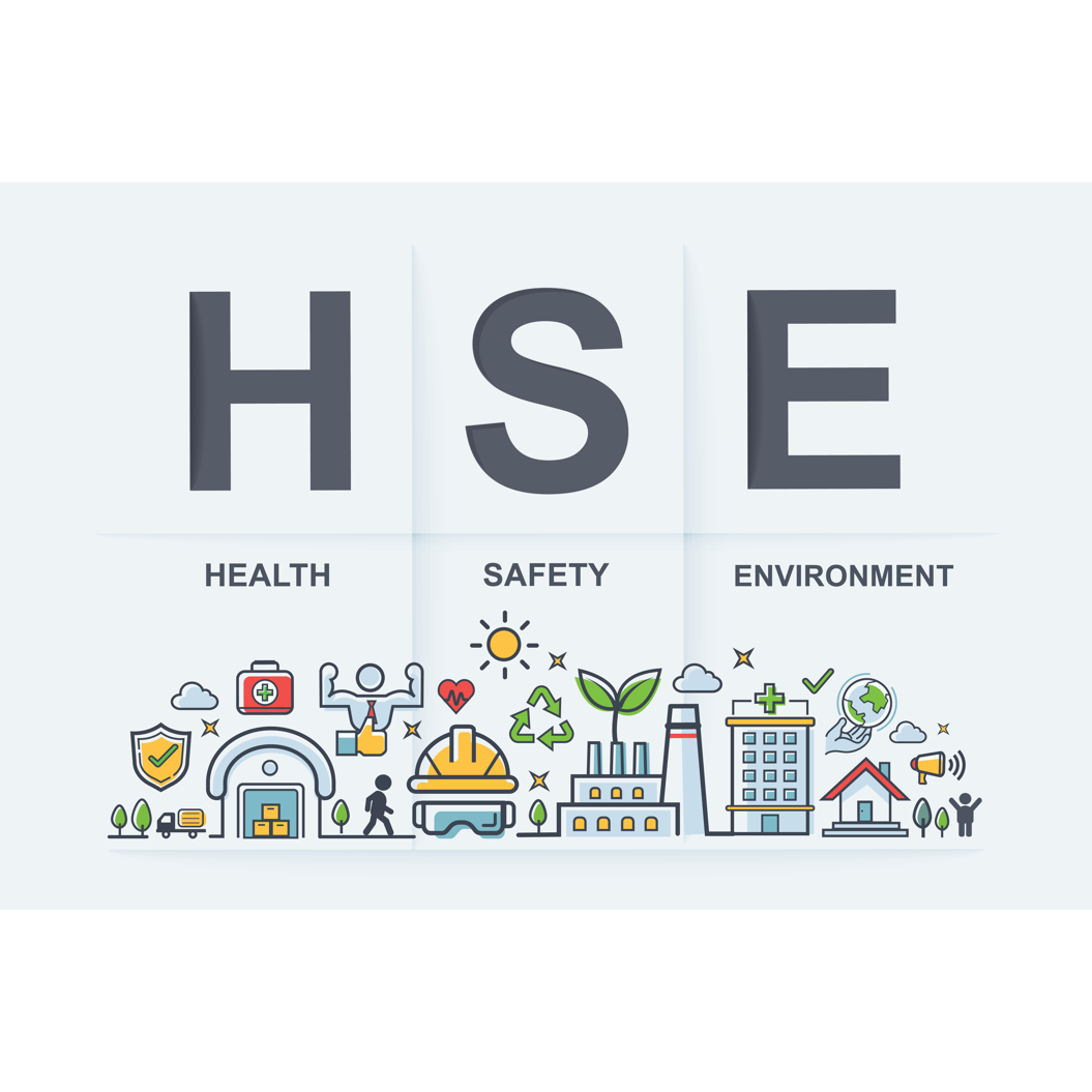 The letters HSE, standing for Health, Safety, and Environment, and sketches of safety in construction work