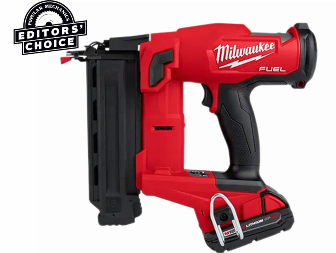 A Makita nail gun in front of a white background