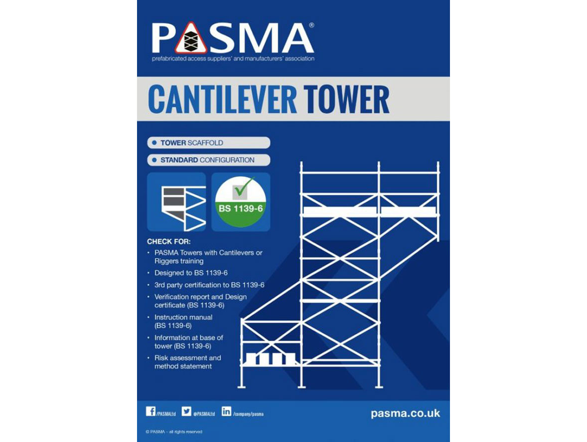 Outline of a cantilever tower, a checklist for safe assembly, and the PASMA certification logo