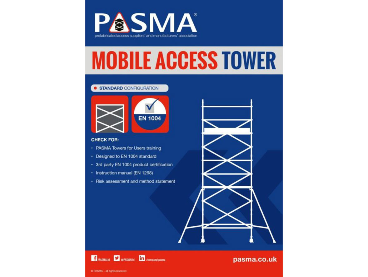 Outline of a mobile access tower, a checklist for safe assembly, and the PASMA certification logo