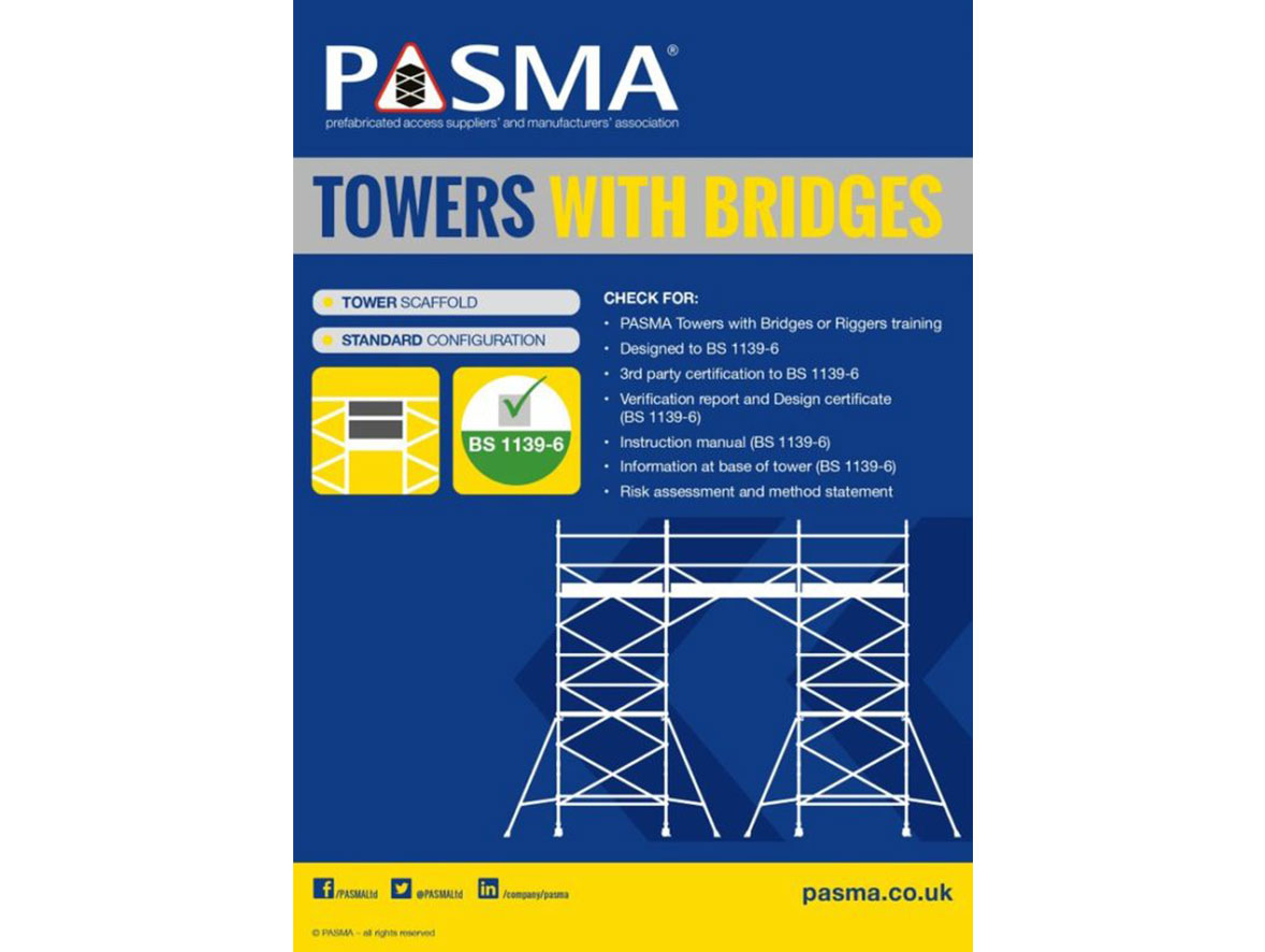 Outline of two access towers connected with a bridge platform, a checklist for safe assembly, PASMA certified