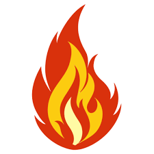 A drawing of a fire flame in front of a plain background