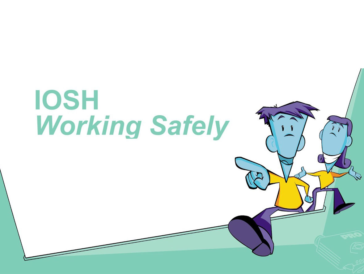 Two workers smiling with the phrase IOSH Working Safely written above them