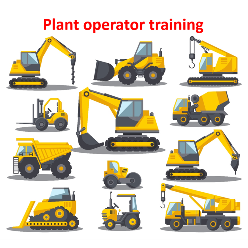 A collection of heavy duty construction vehicles such as diggers and cement mixers