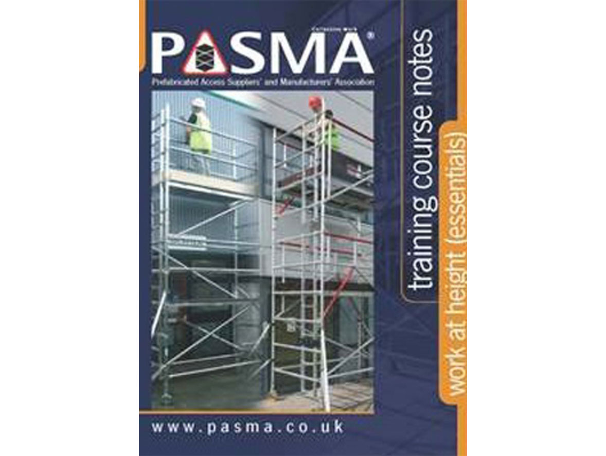 Two mobile access towers with construction workers on them, and the PASMA certification logo