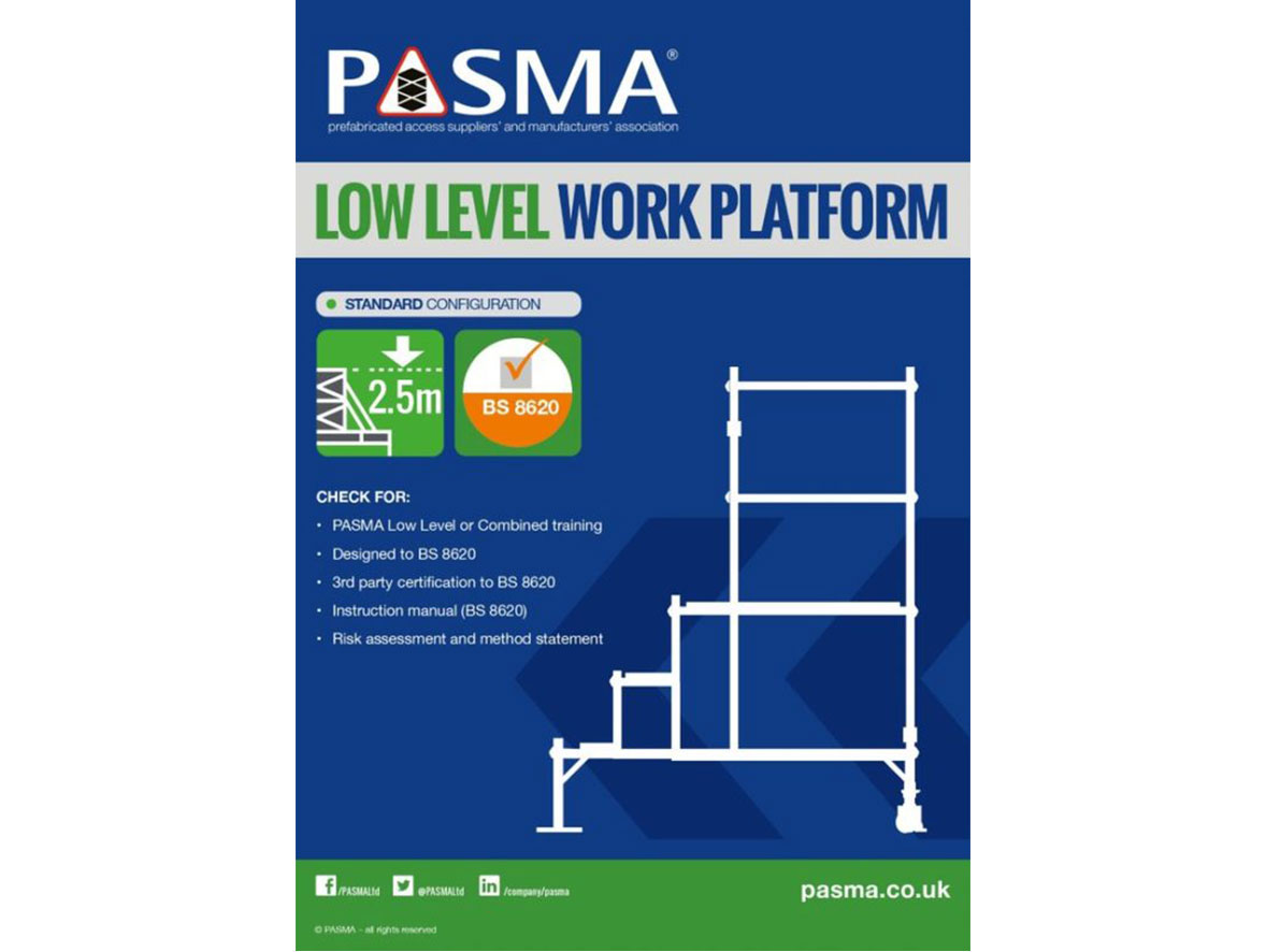 Outline of a low level work platform, a checklist for safe assembly, and the PASMA certification logo