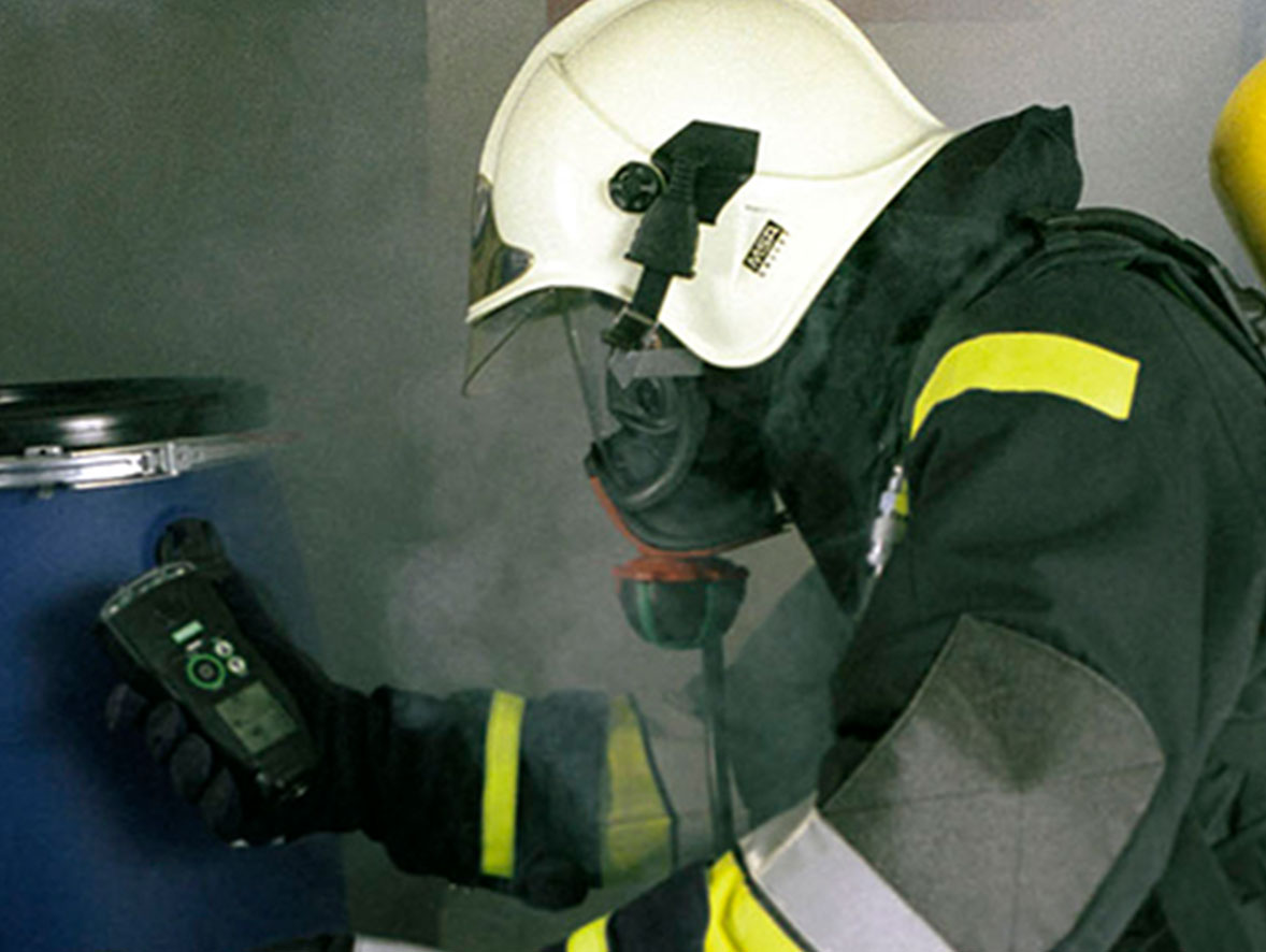 A firefighter entering a confined space in which he has to wear a breathing apparatus