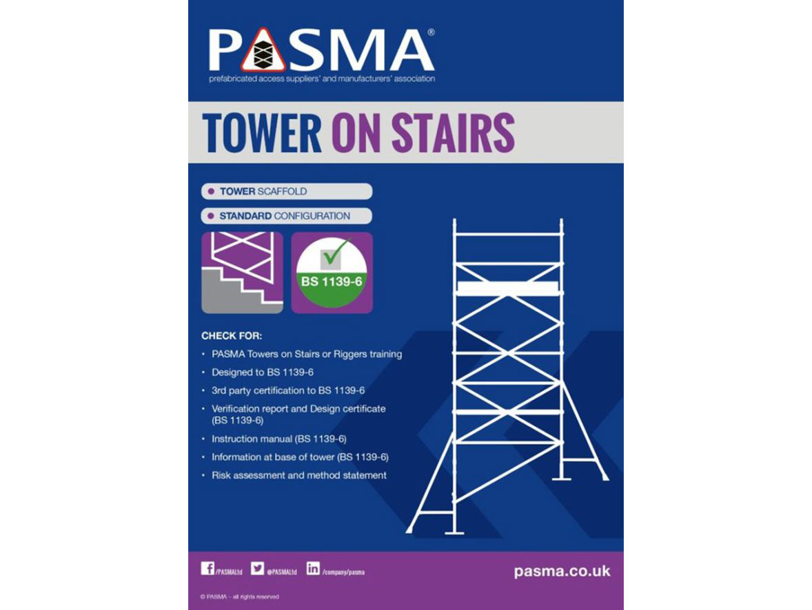 Outline of an access tower on stairs, a checklist for safe assembly, and the PASMA certification logo